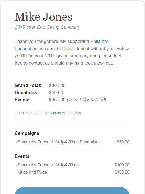 Philantro Year End Donor Report